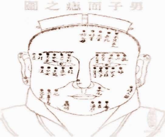 面相大全,面相学,面相图解;; 男人面痣位置与命运图