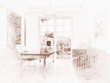 房子风景带船画